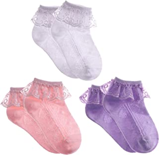 Newborn Infant Toddlers Kids Little Girls Eyelet Lace Ruffle Frilly Mesh Socks Ankle Cotton Socks for 0-8T