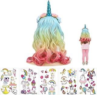 JOOPOM Cerchietto Unicorno Con Capelli Unicorno Fascia Bambina Carnevale Corno Hairband AVEC Capelli Colorati Corna Cerchi...