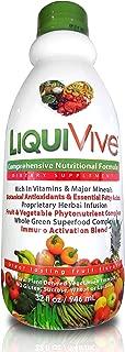 LiquiVive Liquid Vitamins Vegetarian Dietary Supplement | Daily Multivitamin Superfood Green Juice | with Vitamin A B12 C D E K NMN | 99.9% Vegan Non-GMO Gluten Free 32 fl oz