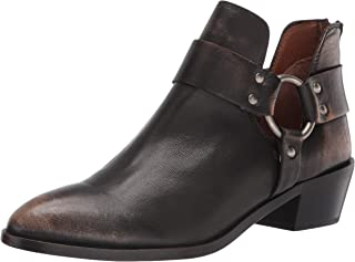 Frye Women's Ray Harness Back Zip Ankle Boot, Dark Brown, 6.5
