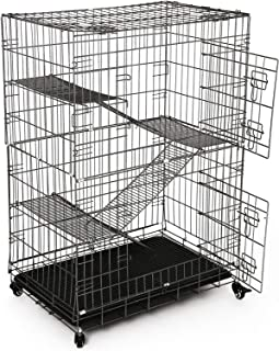 3-Tier Metal Cat Cage Portable Pet Bird Rabbit Pig Hutch Animal House w/ Wheels, Portable Cat Cage Playpen Box with 3 Adju...