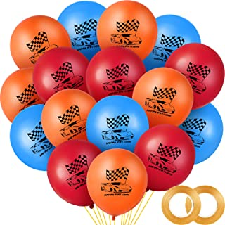 60 Pieces Race Car Latex Balloons 12inch Wheels Race Balloons Hot Wheel Themed Party Balloons with Ribbons for Kids Birthd...