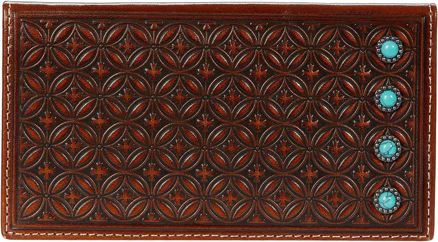 M&F Western Diamond Embossed Turquoise Stone Rodeo Wallet