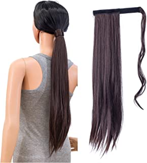 SWACC Women Long Straight/Curly Wavy Wrap Around Ponytail Extension Synthetic Hair Piece Clip in Hair extensions (Straight, 4#-Dark Brown)