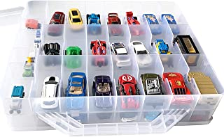 HOME4 Double Sided BPA Free Toy Storage Container - Compatible with Mini Toys, Small Dolls Hot Wheels Tools Crafts - Toy Organizer Carrying Case - 48 Compartments - Cars Not Included (Clear)