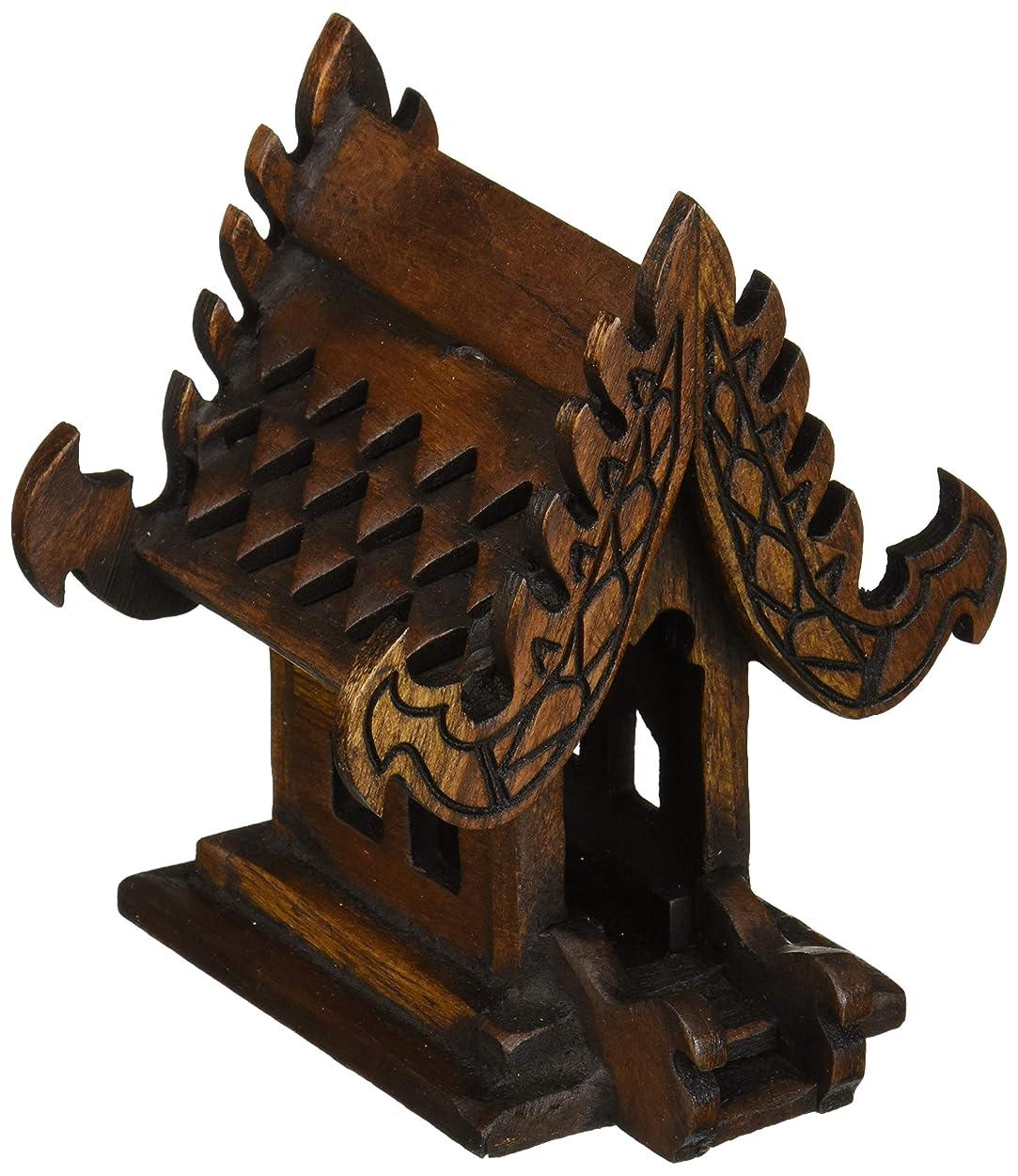 通行料金なかなか海里デザインunseenthailandタイ仏教でハンドメイドチーク材木製Spirit家。 W4