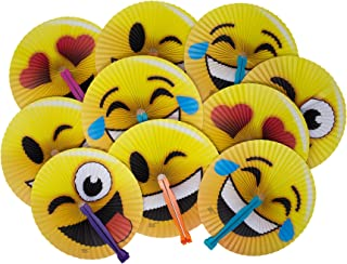 24-Pack of 10 Emoji Face Paper Folding Fans! Great Kids Party Favor! Variety of Colors and Styles! by M & M Products Online