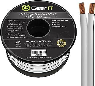 GearIT Pro Series - Cable de altavoz de calibre 16 (30,48 metros), color blanco