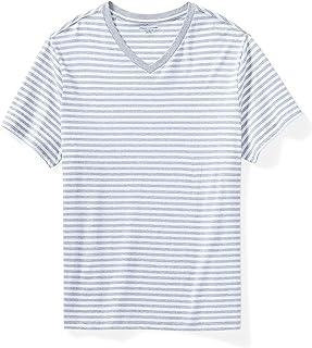 Amazon Essentials Men's Short-Sleeve Stripe V-Neck T-Shirt fit by DXL