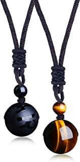 LOYALLOOK Unisex Natural Tiger Stone Onyx Stone Lucky Blessing Chakra Beads Pendant Adjustable Healing Necklace