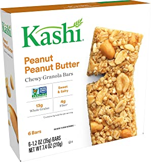 Kashi Chewy Peanut, Peanut Butter Granola Bars - Vegan | Box of 6 (Pack of 8)