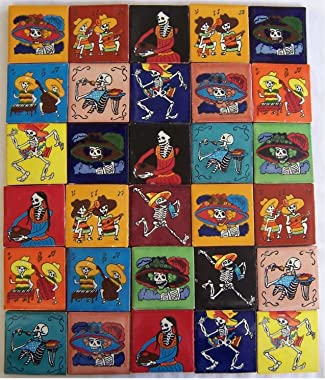 COLOR Y TRADICIÓN 30 Hand Painted Day of The Dead Mexican Talavera Tiles 2 x 2