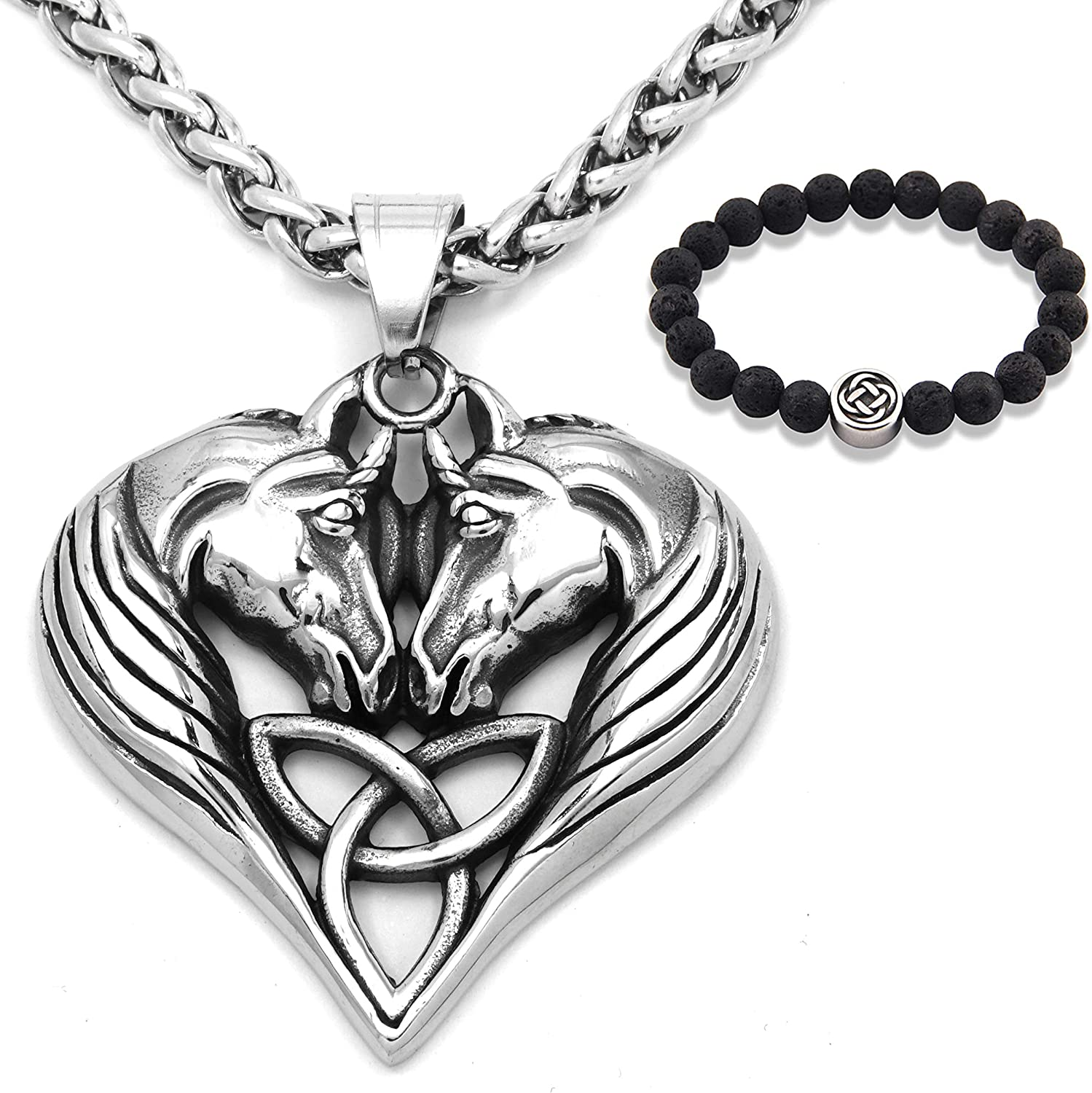 Gungneer Triquetra Horse Necklace Celtic Pendant Stainless Steel Chain Power Amulet Trinity Knot Jewelry Men Women
