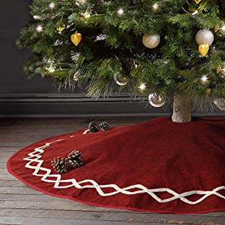 Ivenf Christmas Tree Skirt, 48 inches Large Burgundy Burlap Plain with White Lace, Rustic Xmas Tree Holiday Decorations