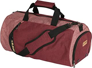 EleSac Canvas Style Round Gym Bag with Shoe Compartment for Men and Women, Sports Travel Duffel (Red-Pink Large)