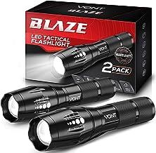 Vont 'Blaze' Tactical Flashlight (2 Pack) LED Flashlights, Extremely Bright Flash Light, High Lumen, Adjustable Beam, Wate...