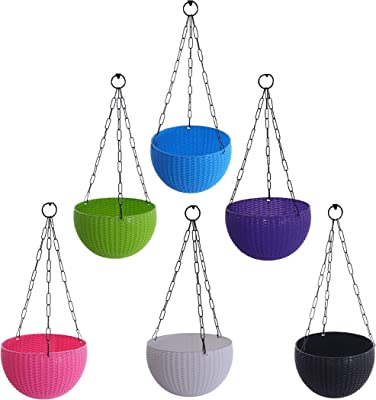 Kirow Plastic Hanging Flower Planter Round Pot with Chain Beautiful Houseplants Gamla for Garden/Balcony with Nursery Hub Baskets Decoration (Multicolor, Pack of 6)
