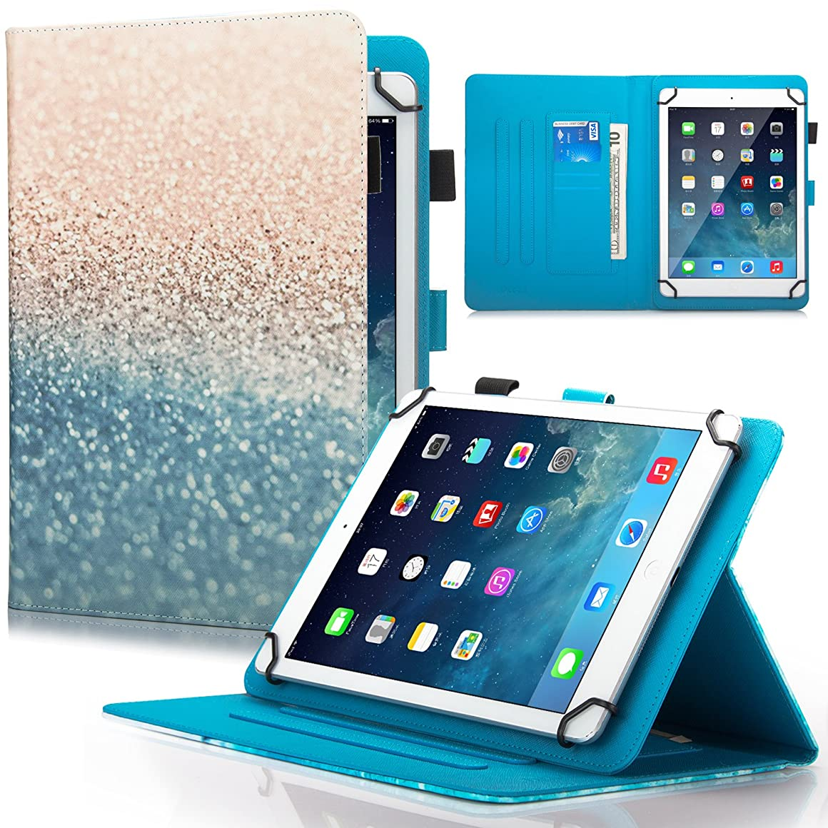 Dteck Universal Case for 6.5-7.5 inch Tablet, PU Leather Folio Protective Cover with Multi-Angle Stand Magnetic Closure Card Slot Wallet Case for 6.5-7.5 inch iPad Android Windows Tablet,Beach Sand