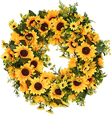 Lvydec Artificial Sunflower Summer Wreath - 16 Inch Decorative Fake Flower Wreath with Yellow Sunflower and Green Leaves for