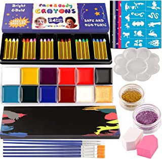 Lorfancy 37 Pcs Face Paint Kits for Kids Professional Halloween Crayons, Palette, Tattoos Stickers, Glitter, Puff Ultimate Body Face Painting Halloween Makeup Party Supplies