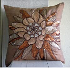 Handmade Brown Decorative Cushion CaseCover 40x40 cm, Silk Throw Pillow Cushions for Couch, Nature & Floral, Sequins Embe...