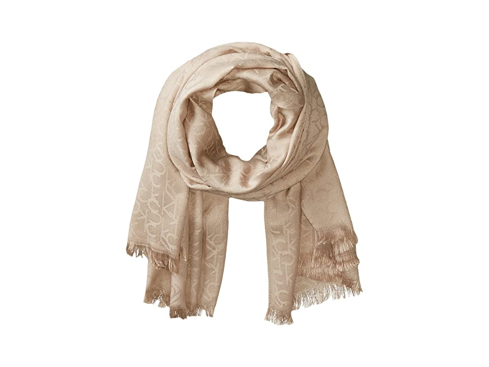Calvin Klein CK Logo 2 in 1 Pashmina Wrap Scarf (Heathered Almond) Scarves
