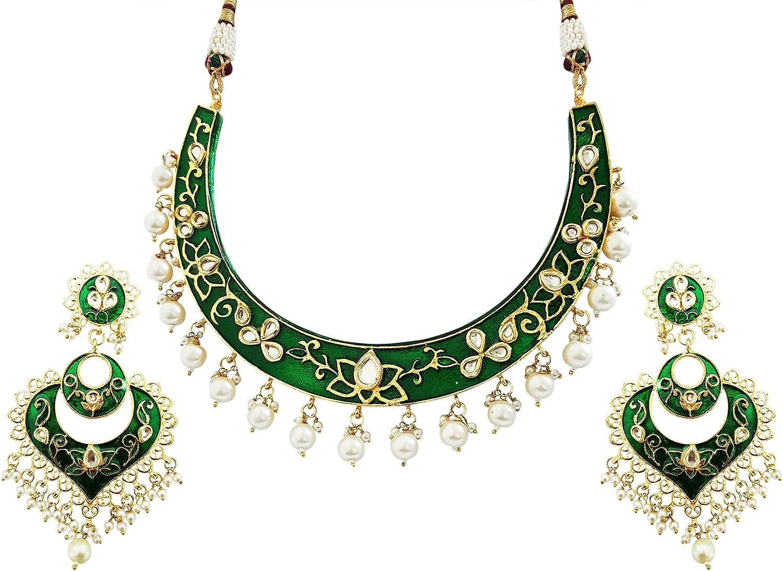 Mehrunnisa Traditional Meena Kundan & Pearls Hasli Necklace Set for Women