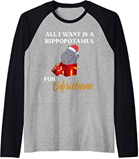 All I Want Is A Hippopotamus For Christmas Xmas Hippo Kid Raglan Baseball Tee
