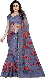 Nitynta Fab net with blouse piece Saree (1199- Grey_free)
