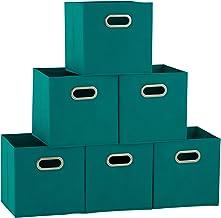 Household Essentials 6 Piece Fabric Storage Cube Bins with Handles Set, Navy Blue Aqua