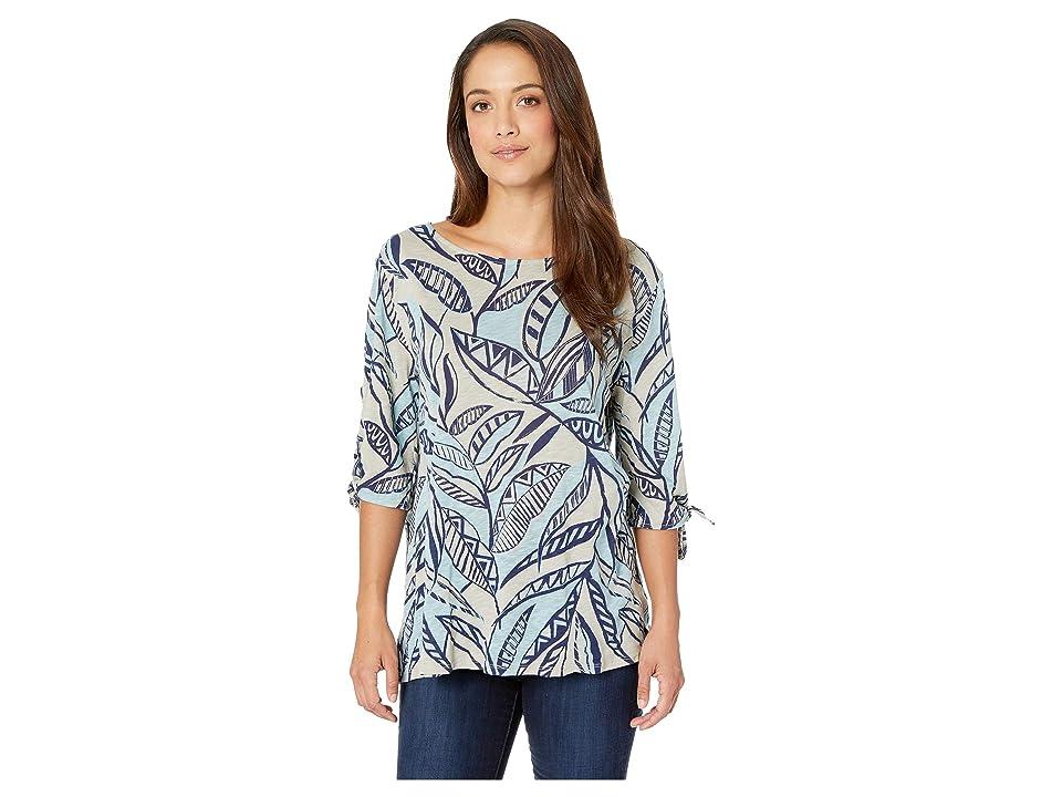 Fresh Produce Palm Leaves Vintage Ties Sleeve Tee (Slate Grey) Women
