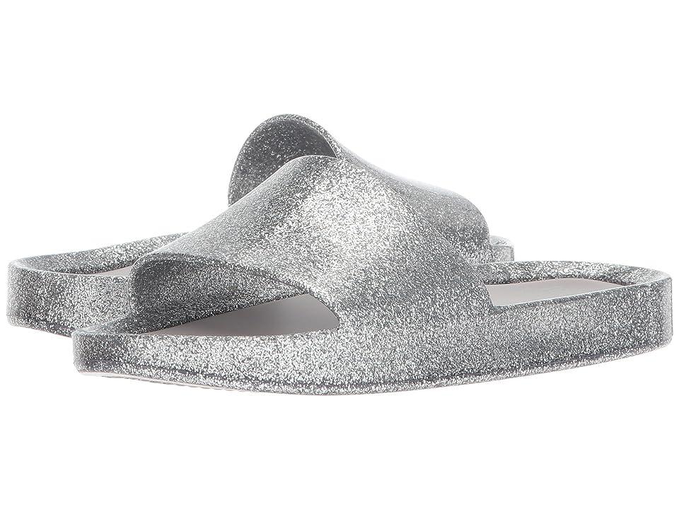 Mini Melissa Mel Beach Slide (Little Kid/Big Kid) (Silver Glass Glitter) Girls Shoes