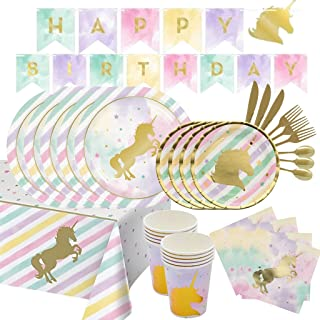107 Pieces Unicorn Party Supplies Pack Disposable Tableware Serves 12 Birthday Party Decoration Set Value Pack Napkins Pla...