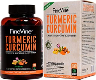 Turmeric Curcumin with BioPerine Black Pepper and Ginger - Made in USA - 60 Vegetarian Capsules for Advanced Absorption, Cardiovascular Health, Joints Support and Anti Aging Supplement (60 Capsules)