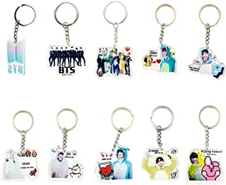 BTS Cartoon Acrylic Keychain Bangtan Boys Key Ring Hot Gift for Army,Transparent, Double-Sided Visible