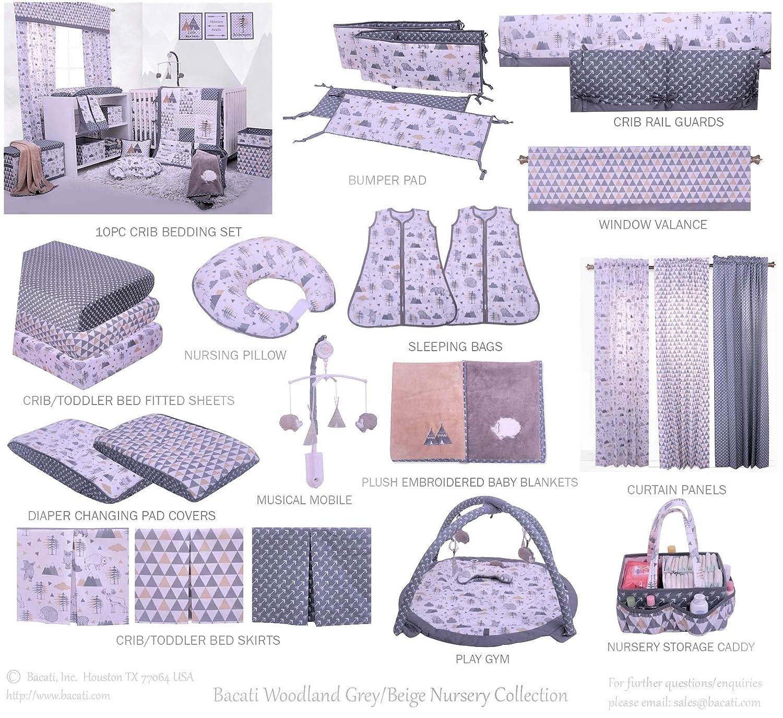 Bacati Woodlands Grey/Beige Neutral Cotton Nursing Pillow, Beige/Grey