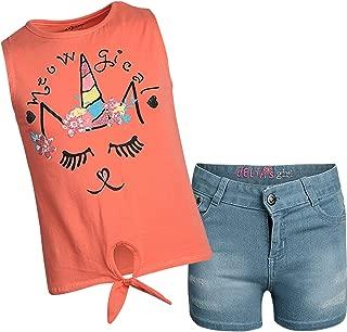 dELiAs Conjunto de 2 Piezas de Pantalones Cortos de Mezclilla con Estampados y Camisas de Lentejuelas para niñas