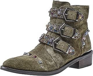 Alma en Pena Women's Embellished Suede Cowboy Boots Green