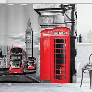 Ambesonne London Shower Curtain, London Telephone Booth in The Street Traditional Local Cultural England UK Retro, Cloth Fabric Bathroom Decor Set with Hooks, 70