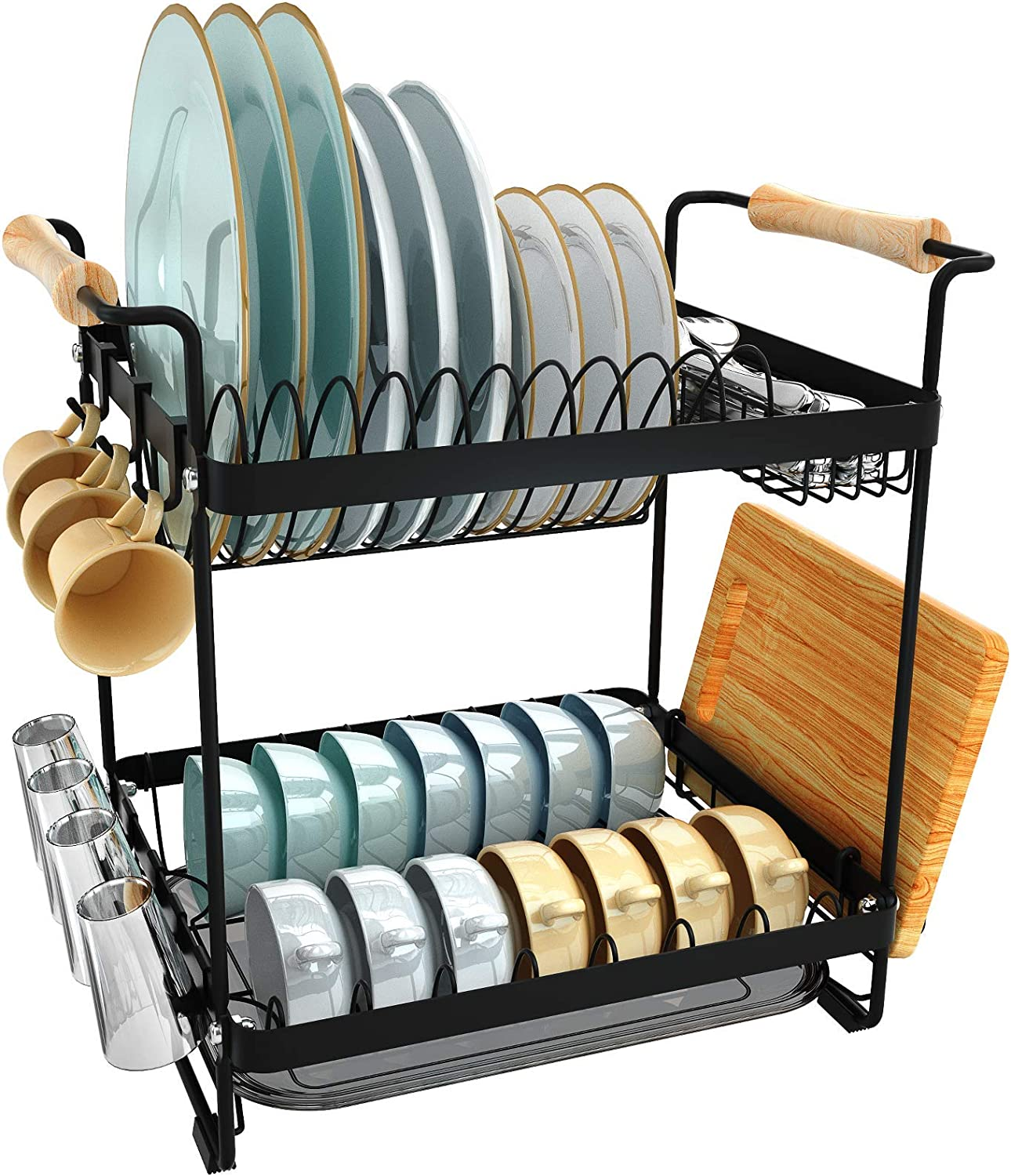 Dish Albuquerque Mall Drying National uniform free shipping Rack JZBRAIN 2 Tier Small Stainless Steel