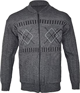 Z1 Mens Classic Zip Up Or Button Up Cardigan Argyle Diamond Grandad S M L XL