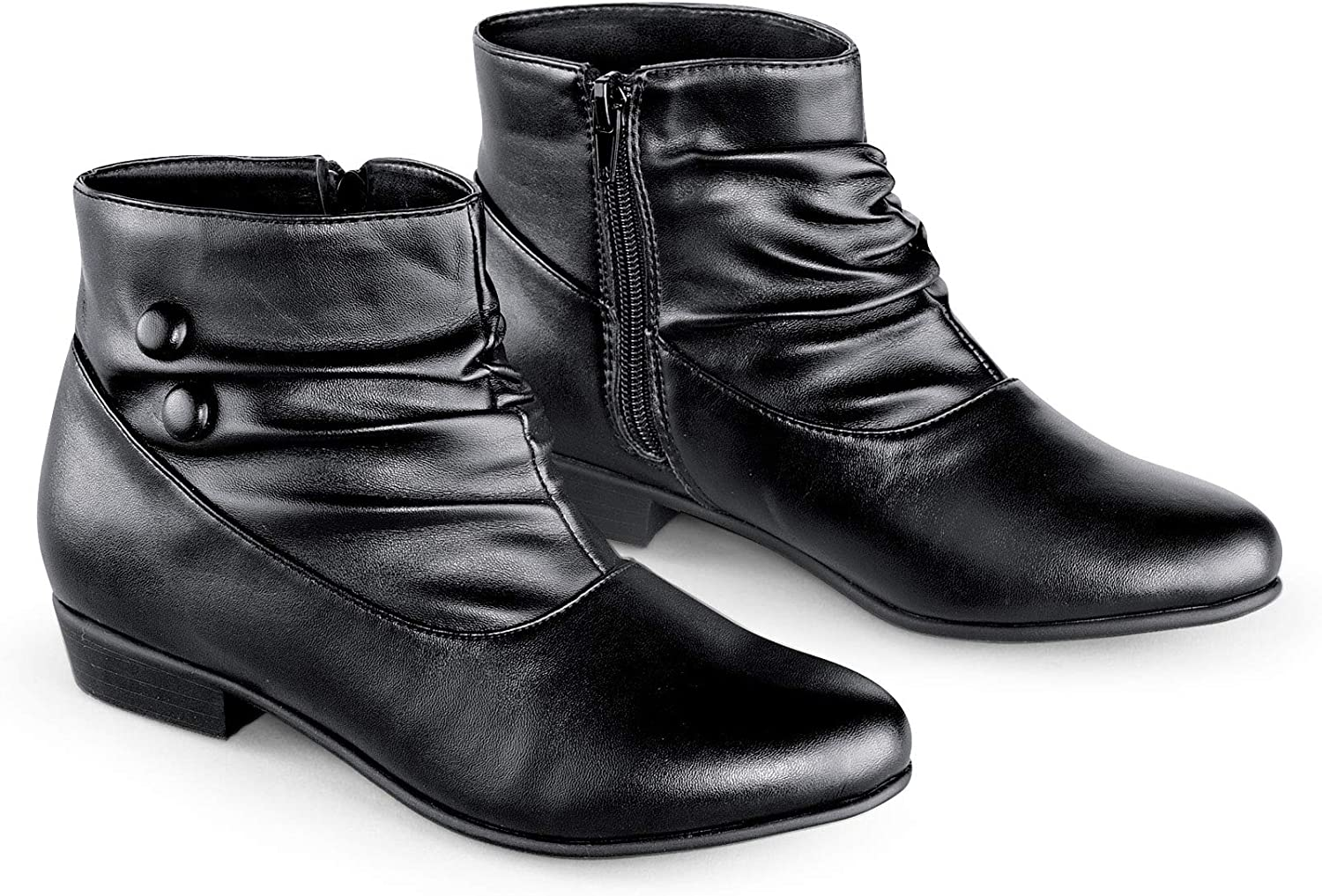 Collections Etc Women's Button Ankle Slouch Boots w/Low Heel Black 11