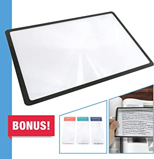 MagniPros Premium 3X (300%) Page Magnifying Lens with 3 Bonus Bookmark Magnifiers for..