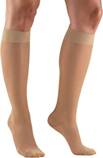 Truform Sheer Compression Stockings, 15-20 mmHg, Women's Knee High Length, 20 Denier, Light Beige, Medium