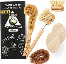 FEBU Zero Waste Bamboo Dish Brush Set | 6 Piece Vegetable Scrubber and Dishwashing Sponge Kit | Includes Dish Brush with H...