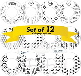 CORRURE 12 Pack Baby Closet Size Dividers (White) - Complete Unisex Nursery Closet Organizer Set - Clothes Age/Size From Newborn to 24 Months and More With 30pcs Extra Stickers - Best Baby Shower Gift