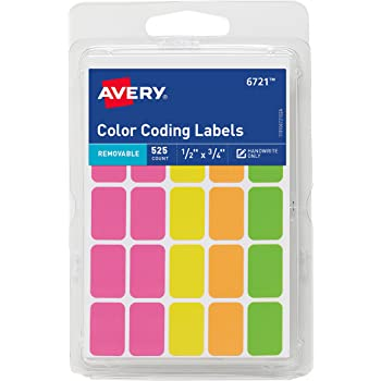Avery Removable Color Coding Labels, Rectangular, Assorted Colors, Pack of 525 (6721)