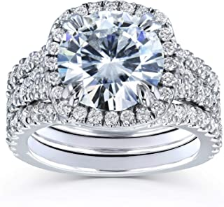 Round Forever One D-F Moissanite Cushion Halo Bridal Wedding Set 4 1/3 CTW 14k White Gold 3 Piece Set