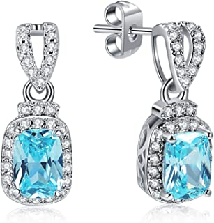 Sterling Silver Cushion-Cut Created Aquamarine Dangle Earrings with CZ Diamond Frame for Women
