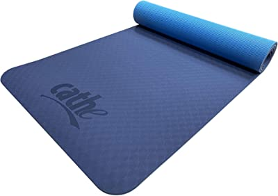 Cathe Blue Eco-Friendly Extra Thick TPE Yoga Exercise Mat - Perfect for Yoga, Pilates, Floor Exercises, core Training, Strength Training, Stretching and Meditation